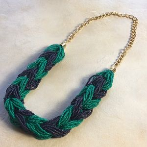 Chunky Beaded Braid Necklace Green Navy Blue Gold